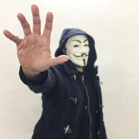 Hand Being Creative. Expressing Myself. Costume Face Mask Mask_collection Masks Vandetta Mask Smile