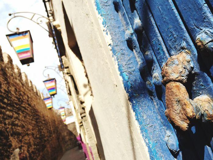 Morocco Essaouira Architecture Outdoors Building Exterior Light Lamp Post Rainbow Door Knocker Hand