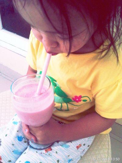 Jj She Cha enjoying strawberry milkshake MadeByMom Enjoying Life EyeEm Kids