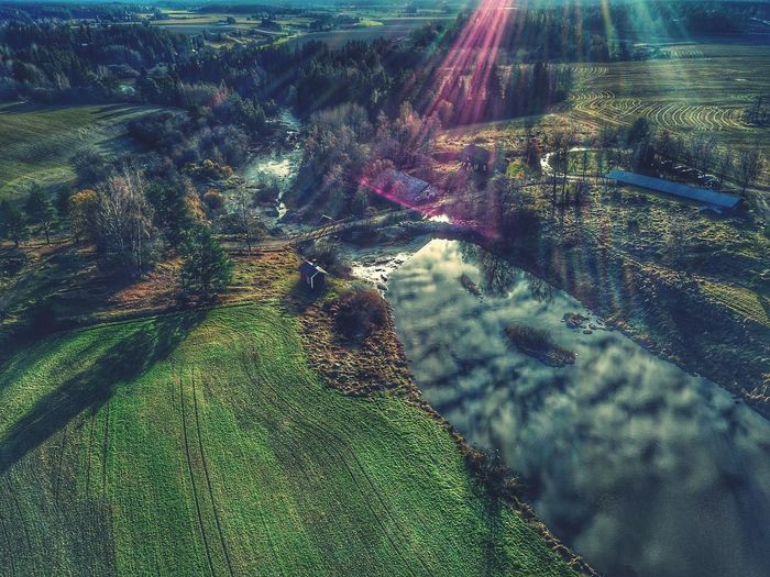 High Angle View Nature Field Outdoors Agriculture Landscape Day Growth Beauty In Nature No People Rural Scene Sky Waterfront Waterfall River Nature Green Color Red Perspectives On Nature