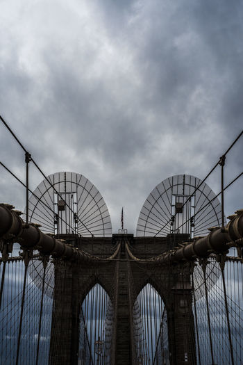 Mirror image Brooklyn Brooklyn Bridge  New York New York City Architecture Bridge - Man Made Structure Built Structure City Cloud - Sky Connection Day Ferris Wheel Low Angle View No People Outdoors Sky