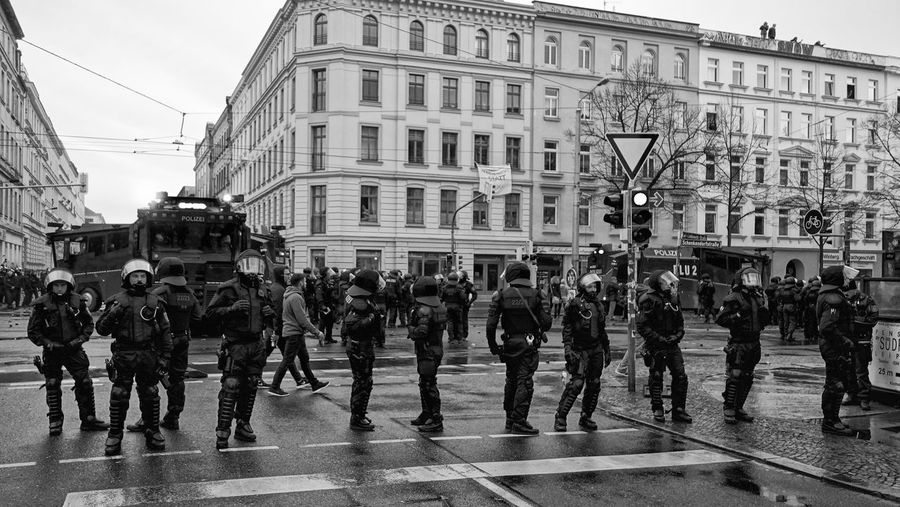12.12.15 Leipzig Blackandwhite City Day Demonstration German Police Headwear Outdoors People Police Force Real People Streetphotography Water Cannon