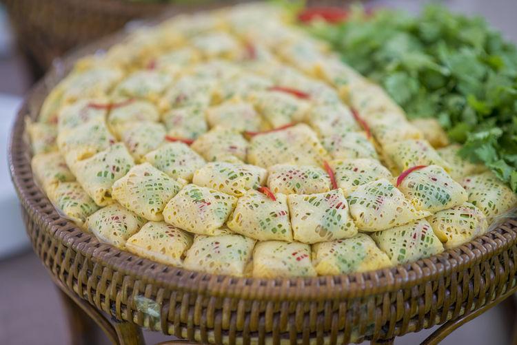Close-up of dessert in wicker basket