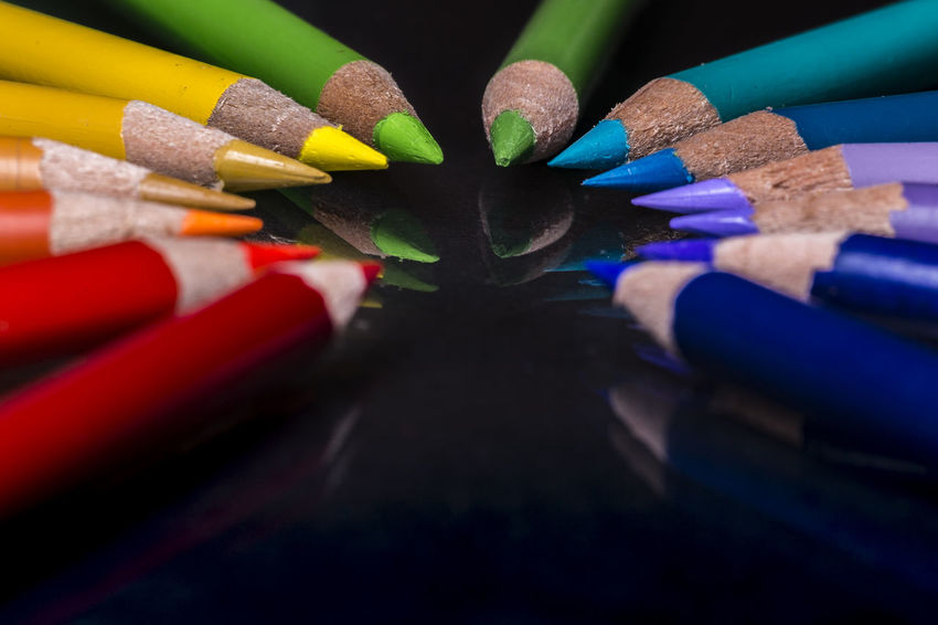 Color Pencils in a circle forming a Rainbow Artistic Circle Coloring Pencils Composition Creativity Leading Lines Pencils Rainbow Colors Unity Black Close-up Colorful Creative Multi Colored Multicolored Pattern Pencil Ring School Supplies Sharp Spectrum Of Colors Success Vibrant Colors Wooden Pencil