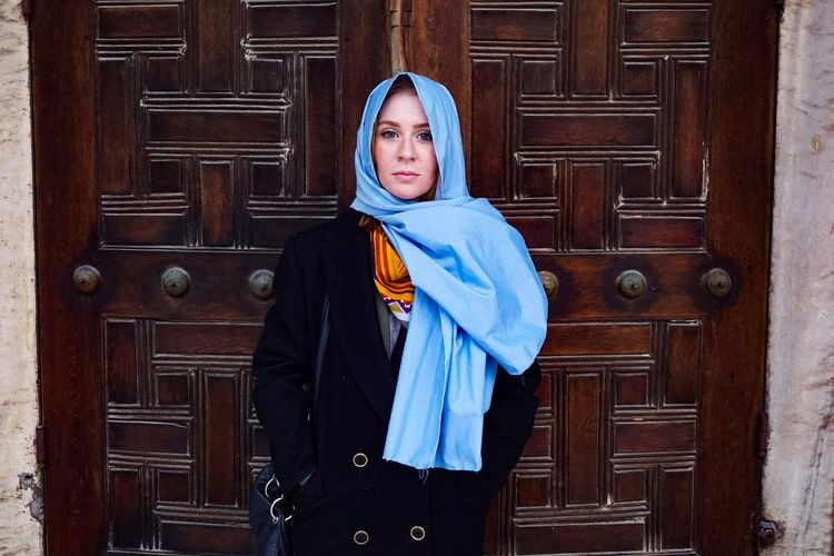 visiting the blue mosque in Istanbul EyeEmNewHere Door Wood - Material One Person Adults Only Adult Human Body Part People Front View Portrait Real People Day Outdoors Standing Looking At Camera Beautiful Woman Young Women Young Adult Lifestyles