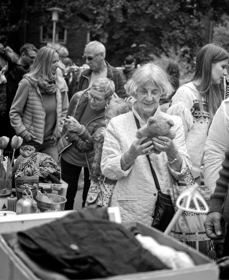 Flea market - Joyful moment Smile Happy Old Woman Teddy Bear Precious Memories Joyful Moments Joyful Flea Market Black And White Photography Street Photography Women Drink Adult Food And Drink Archival Group Of People Refreshment Lifestyles People Females The Street Photographer - 2019 EyeEm Awards The Street Photographer - 2019 EyeEm Awards