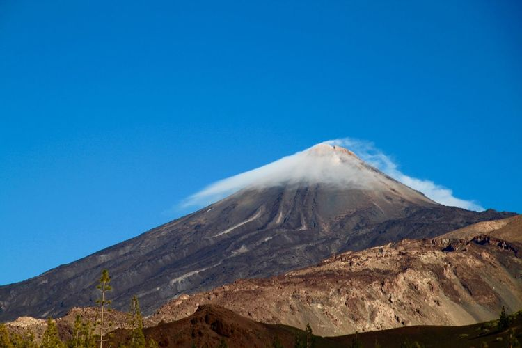Adventure Beauty In Nature Blue Canary Islands Cloud On Mountain Geology Landscape Majestic Mountain Mountain Peak No People Physical Geography Rock Formation Rocky Mountains Snowcapped Mountain Teide Teide National Park Tenerife Travel Destinations Volcanic Landscape Volcano
