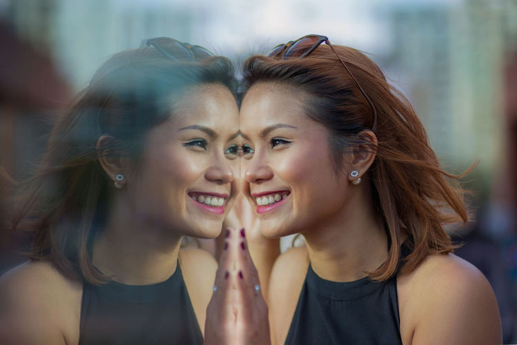Asain Girl Beauty Casual Clothing Fashion Headshot Long Hair Make-up Model Portrait Reflection Smile Young Adult Young Women