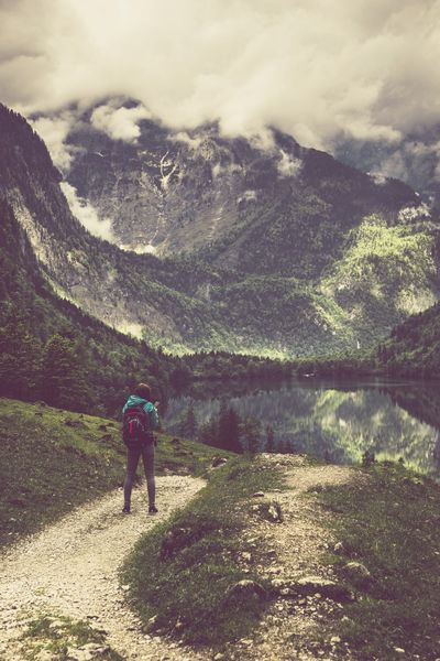 Hiking in the Bavarian Alps Www.alexander-schitschka.de Day Beauty In Nature Nature Cloud - Sky Mountain Hiking Adventure Bavaria Berchtesgaden Obersee Girl Female Women