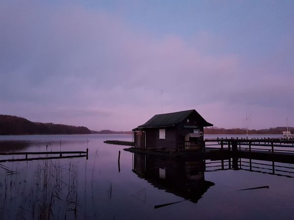 Water Lake Reflection Architecture Sunset Stilt House Outdoors Built Structure Sky Nature No People