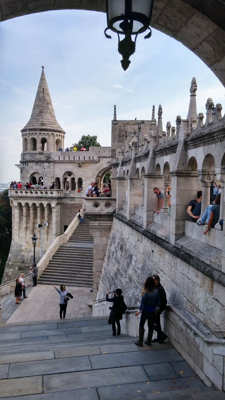 People At Fisherman Bastion Against Sky