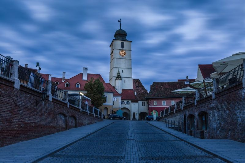 Old town Sibiu Romania Sibiu, Romania Nightphotography Night Architecture Built Structure Building Exterior Building Sky Cloud - Sky Direction The Way Forward Tower City Belief History Spire  Spirituality Place Of Worship Travel Destinations Outdoors