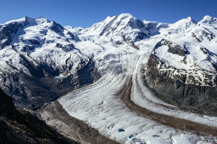 Gorner glacier monte rosa, lyskamm in a swiss alps from gornergrat station