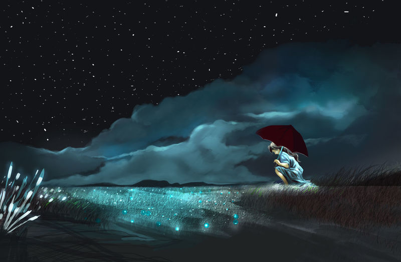 Digital composite image of man and illuminated sea against sky at night
