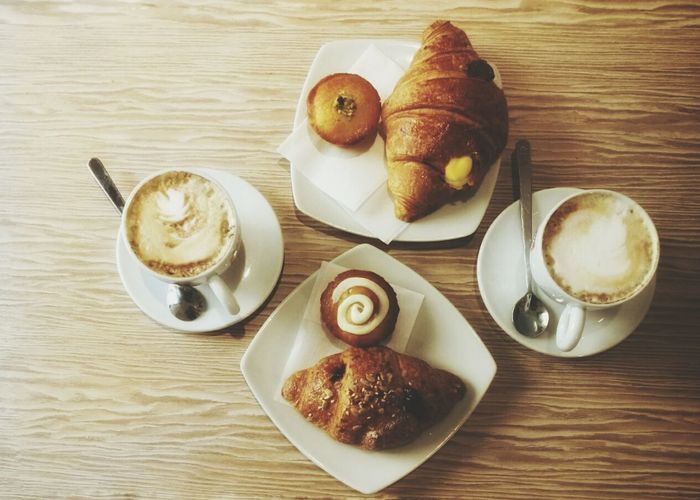 Cornetti Croissants Dolci Pastries Cappuccino Prima Colazione Italian Breakfast Food And Drink Food Table Sweet Food Plate Indoors  Coffee - Drink No People Ready-to-eat Day Close-up Directly Above Smartphone Photography HuaweiP9 F1 Filter