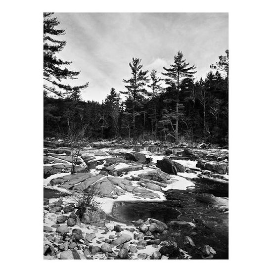 Slippery Rocks 2 . . . . . Adventure Explore Peaceful Rocks Mountains Landscape Nature Forest Bnwlandscape Blackandwhite Bnw Outdoors Mobilephotography Amateurphotography Wild Hiking Monochrome Wanderlust Cold Winter Snow River Contrast Composition Society6 roadtrip northeast iphonography androidography phonephotography