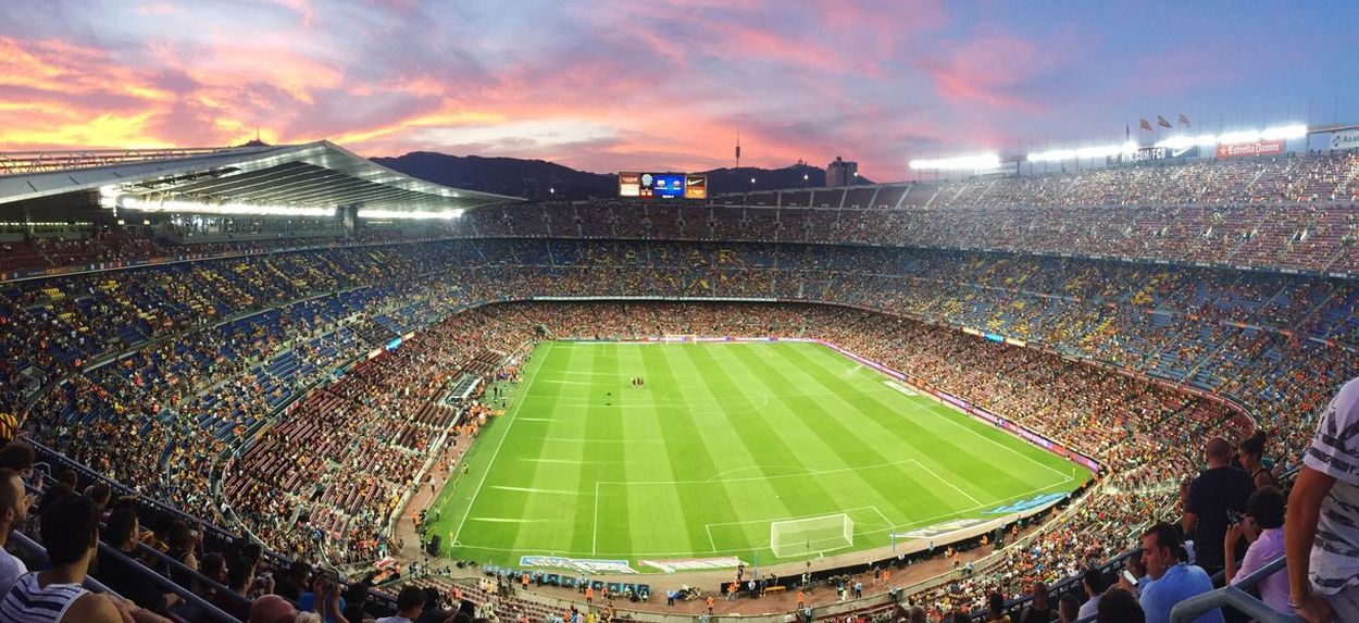 Camp Nou Barcelona Stadium Sport Soccer Grass Fan - Enthusiast Team Sport Audience Large Group Of People Spectator People