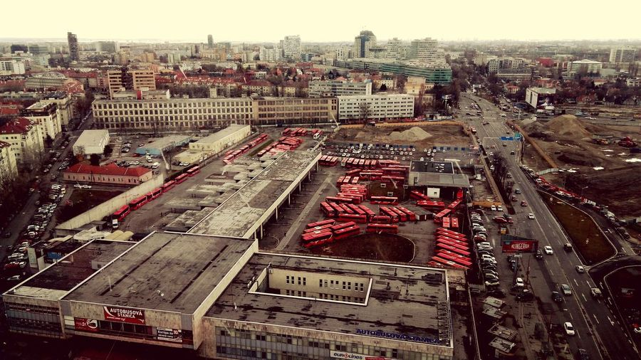 Bus Bus Station Buses Under Reconstruction Reconstruction Bratislava Slovakia High View Flying High Warzone