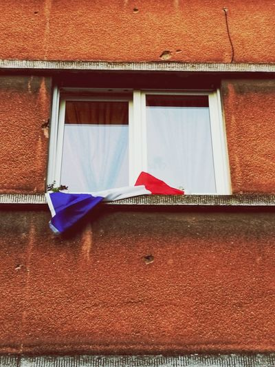 flag world cup 2018 Streetphotography Pride SUPPORT Identity Flag Allez Les Bleus WWII Window Red Architecture Building Exterior Built Structure Close-up Residential Structure House Residential Building Love The Game