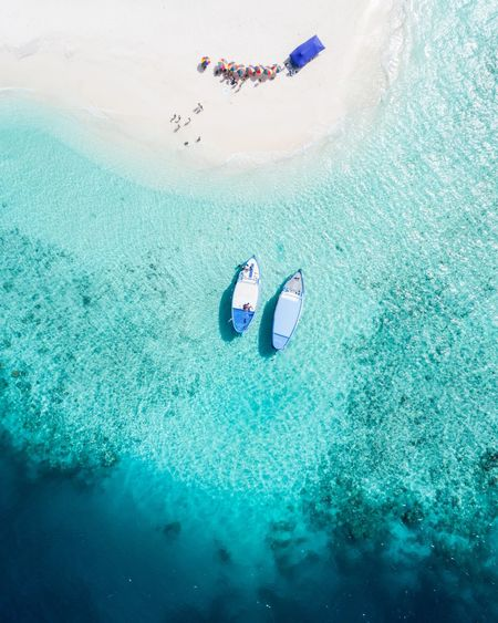 Aerial view of boat moored at shore