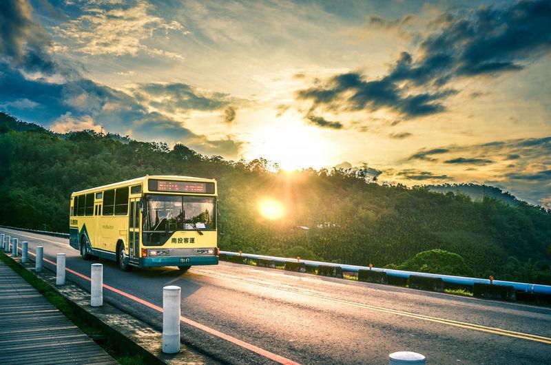 Last Bus Taiwan Bus Cloud - Sky Day Land Vehicle Nature Outdoors Sky Sun Sunlight Sunmoonlake Sunset Transportation