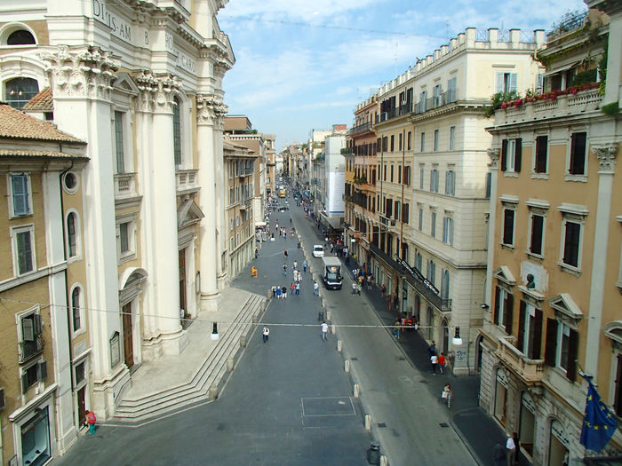 Via Del Corso Architecture Building Exterior City City Life City Street Diminishing Perspective Europe Italia Italianarchitecture Italy Residential District Shopping Tourism Travel Travel Destinations Vanishing Point Viadelcorso  Viajes