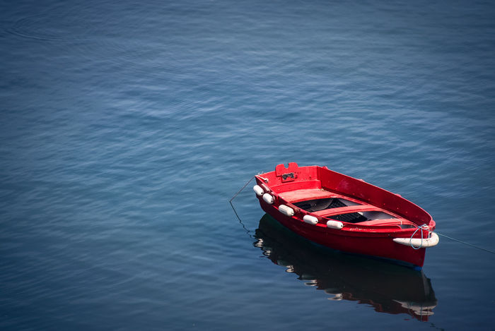 Brittany Row Boat Day High Angle View Mode Of Transport Moored Nature Nautical Vessel No People Ocean Outdoors Red Reflection Tranquility Transportation Water Waterfront