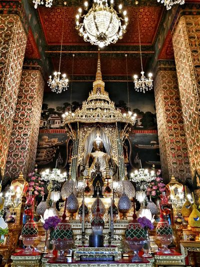 Buddhism Buddha Statue Buddhist Indoors  Place Of Worship No People Spirituality Religion Bangkok Thailand. Temple Architecture Built Structure Colorful Beautiful Spirit Golden Monk  Art Gold