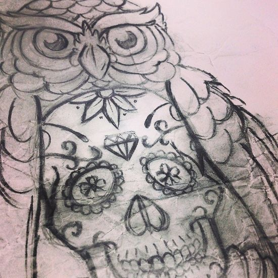 Drawing of a Owl with a Calaca for a Tattoo byGabbo gabbo draw skull design