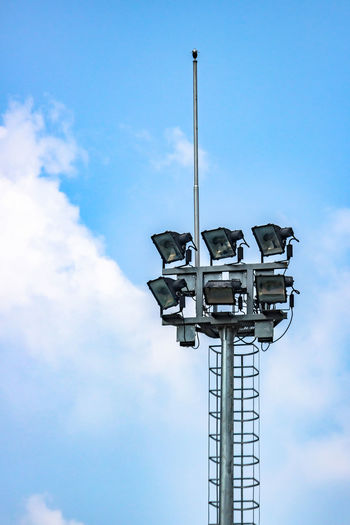 Outdoor floodlight pole for sport stadium public park Architecture Blue Cloud - Sky Day Electric Pole Floodlight Floodlight Pole Low Angle View No People Outdoor Outdoors Sky Sport Stadium Technology