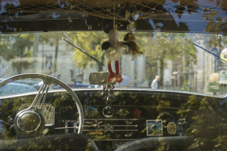Toy hanging in vintage car