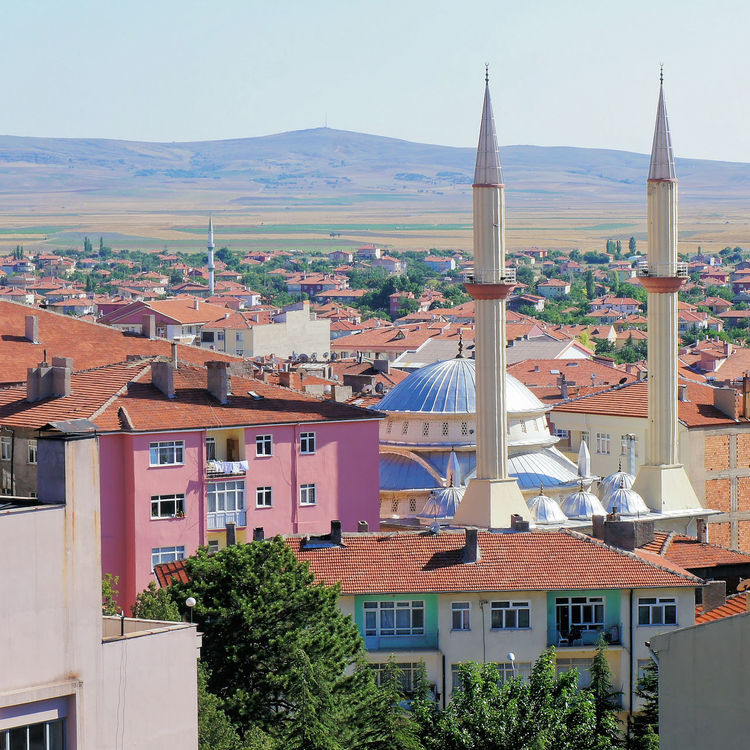 View of Sereflikochisar, Anatolia, Turkey with a mosque between the houses, Anatolia Cityscape Turkey Anatolia Architecture Building Exterior Built Structure City Cityscape Day Dome Minaret Mosque No People Outdoors Sereflikochisar Sky Town Tree