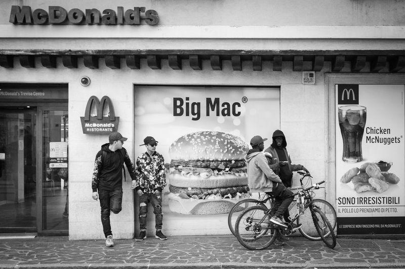 Bigmac,McDonald's Bike Blackandwhite Boys Food Fujifilm_xseries Mcdonalds Streetphotography