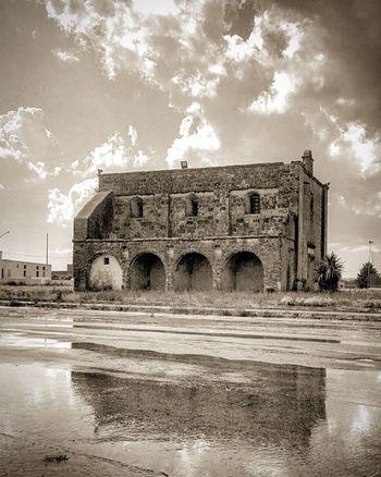 Arch Architecture Blackandwhite Built Structure Cappella Chiesa Church Cielo Cloud - Sky History Italia Italy Mirror Nature Old Ortelle Outdoors Pioggia Puglia Rain Riflessi Riflesso Salento Sky Travel Destinations