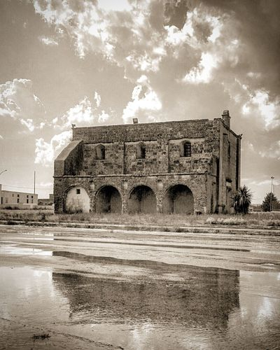 Arch Architecture Blackandwhite Built Structure Cappella Chiesa Church Cielo Cloud - Sky History Italia Italy Mirror Nature Old Ortelle Outdoors Pioggia Puglia Rain Riflessi Riflesso Salento Sky Travel Destinations