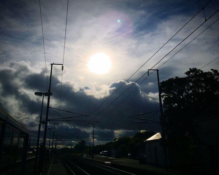 Sun Sky Clouds Train Station