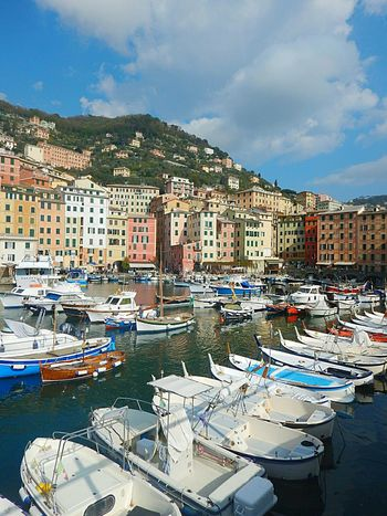 Blue Water Nautical Vessel Moored Travel Reflection No People Town Travel Destinations Outdoors Architecture Sky Harbor Building Exterior City Cloud - Sky Cityscape Mountain Day Gondola - Traditional Boat Sea EyeEm Gallery Camogli Camogli Italia No People,