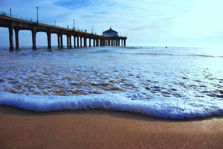 Beach Cloud - Sky Day Horizon Over Water Nature No People Outdoors Pier Sand Sea Sky Travel Destinations Water Waves, Ocean, Nature White Waves
