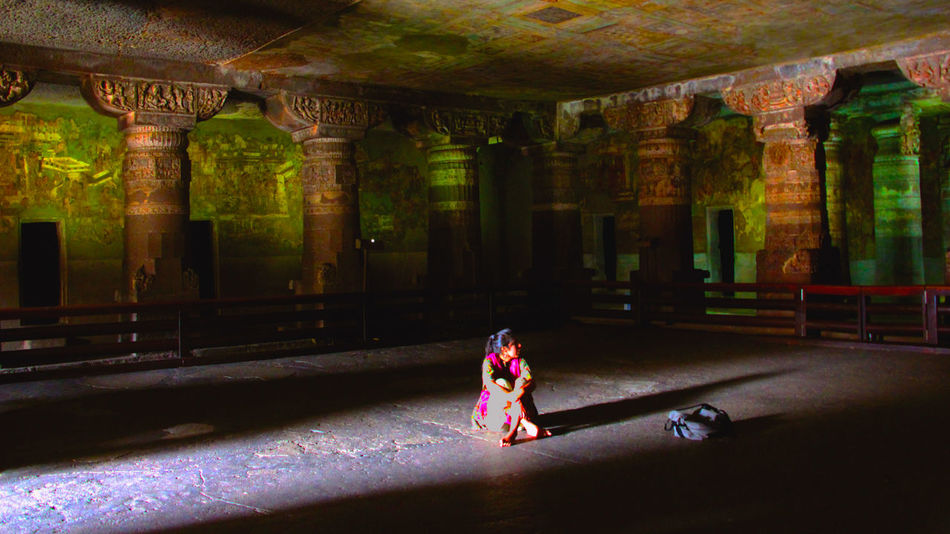 Beauty concealed within Ajanta Caves Ajanta Caves Ancient Civilization Architecture Built Structure Colours Columns And Pillars Historic Indoors  Lights And Shadows One Person Wall Painting/grafitti Young Adult