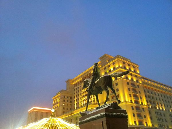Monument to marshal Zhukov, center of Moscow, winter evening. Monument Marshal Zhukov Center Center Of The City Center Of Moscow Winter Evening