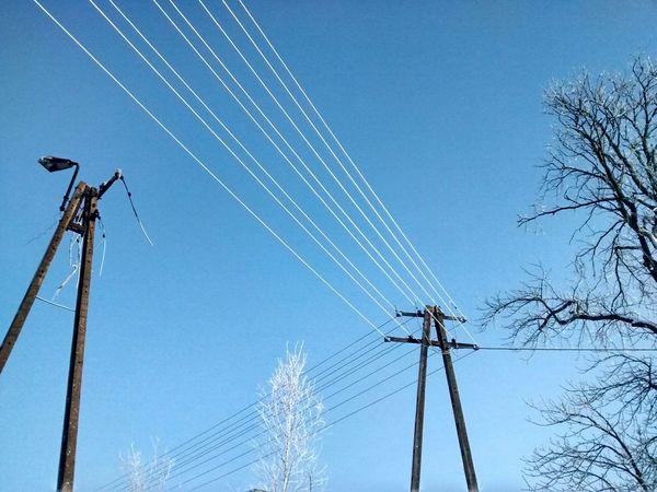 Lines Power Lines Snow Winter Winter Wonderland Sky Blue Beauty Blue Sky Morning