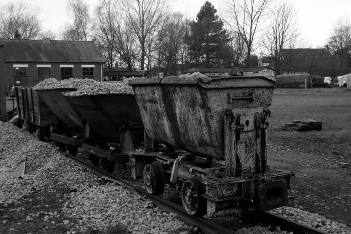 Tree Outdoors No People Day Nature Industry Coal Mine Mining Lancashire Coalfield Mining Heritage History History Through The Lens  Rail Minecart Mine Railway Black And White Photography Black And White