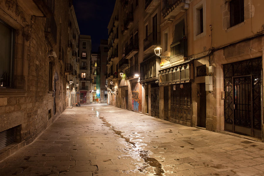 Night in Gothic Quarter (Barri Gotic) of Barcelona city in Catalonia, Spain Barcelona Barri Gótic Catalonia Catalunya Gothic Historical Building Houses Nighttime Old Town SPAIN Alley Ambience Architecture Building Exterior Buildings Built Structure City Europe Gothic Quarter Midnight Night No People Street Street Light Walkway