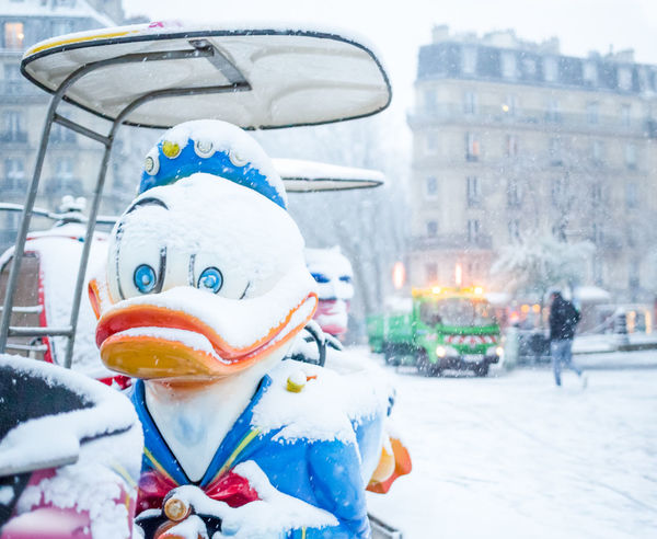 paris 19e un froid de canard Canard Donald Duck Snow Winter Smoke - Physical Structure Cold Temperature People One Person Outdoors