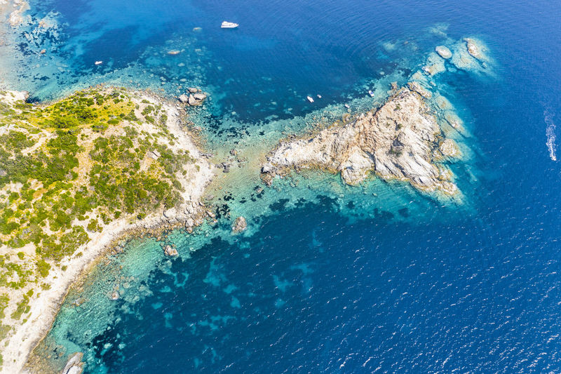 Aerial view of the marine coast of monte argentario in the tuscan maremma