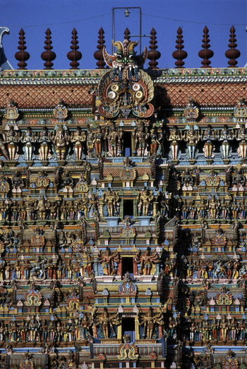 High angle view of meenakshi amman temple