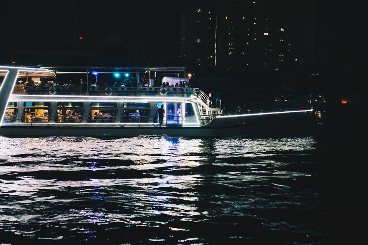 Night Illuminated Water Waterfront Transportation Nautical Vessel Mode Of Transportation Architecture Building Exterior City Built Structure No People Nature Outdoors Building River Reflection Passenger Craft Yacht Luxury