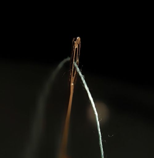 Black Background Close-up Macro Macro Photography Lights And Shadows Sewing Needle And Thread Threading The Needle
