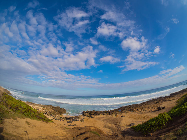 Hawaii Beach Beauty In Nature Cloud - Sky Day Fish Eye Lens Horizon Over Water Nature No People Outdoors Sand Scenics Sea Sky Tranquil Scene Tranquility Water Wave