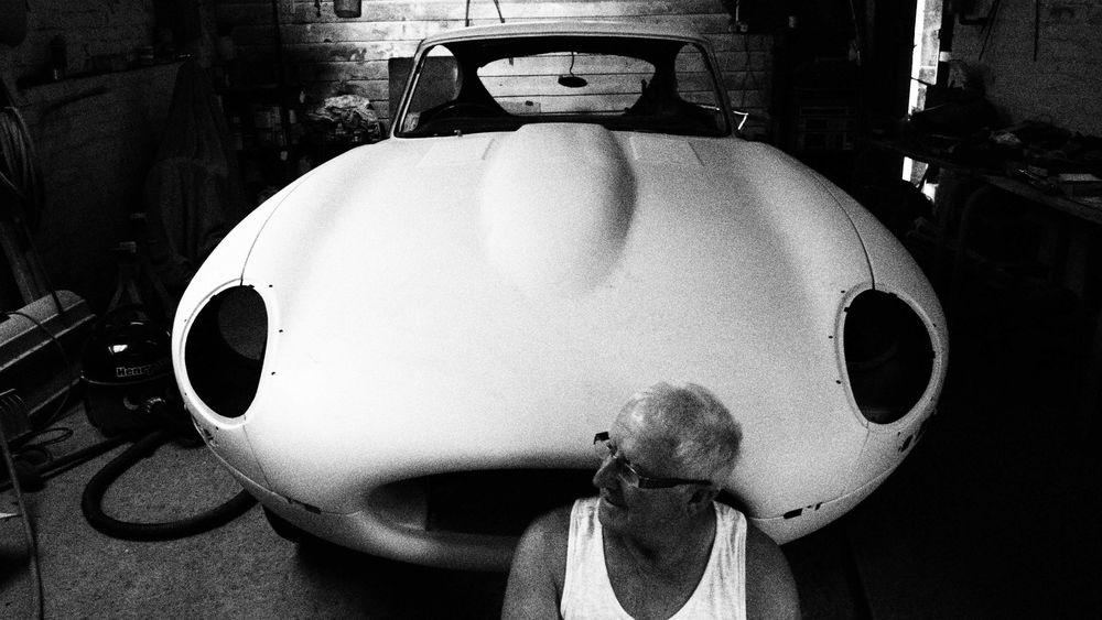 Men Obsolete Sitting Transportation Dad Grandad Jaguar E-Type Black And White Happy Man